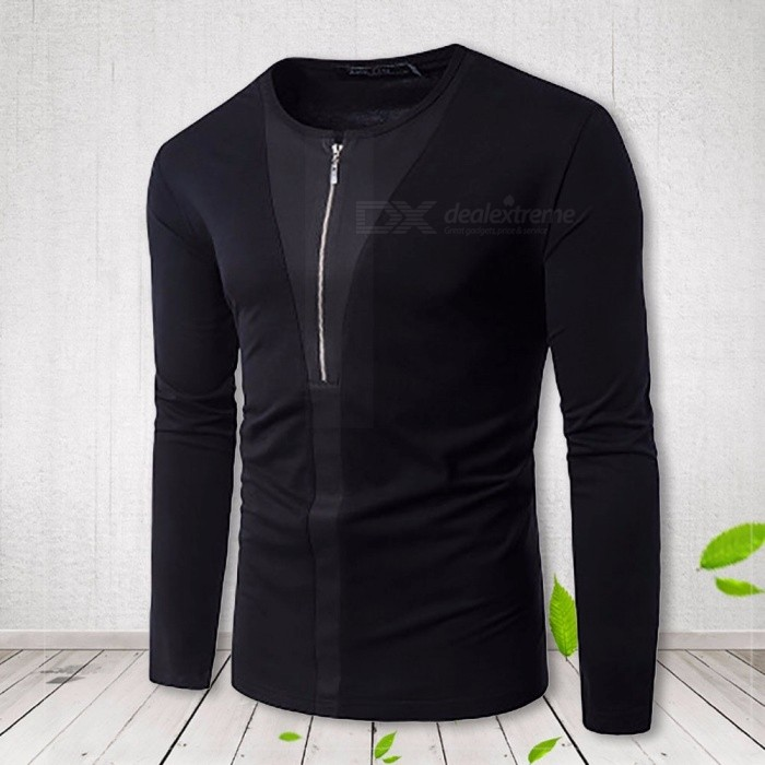 Fashion Half Zipper Long Sleeve Men\'s T-Shirt, Casual Cotton Round Neck Male Tee Tops Black/S