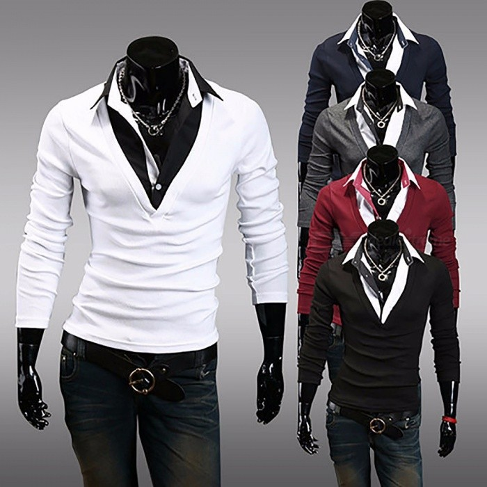 Fashion Thin Men's T-Shirt, Casual V-Neck Fake Two Pieces Slim Male Long-Sleeved T-Shirts Top Tee Black/M