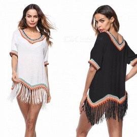 Big-Round-Neck-Tassel-Hollow-Out-Beach-Bikini-Blouse-Sun-proof-Cover-Up-For-Swimsuit-Swimwear-WhiteOne-Size