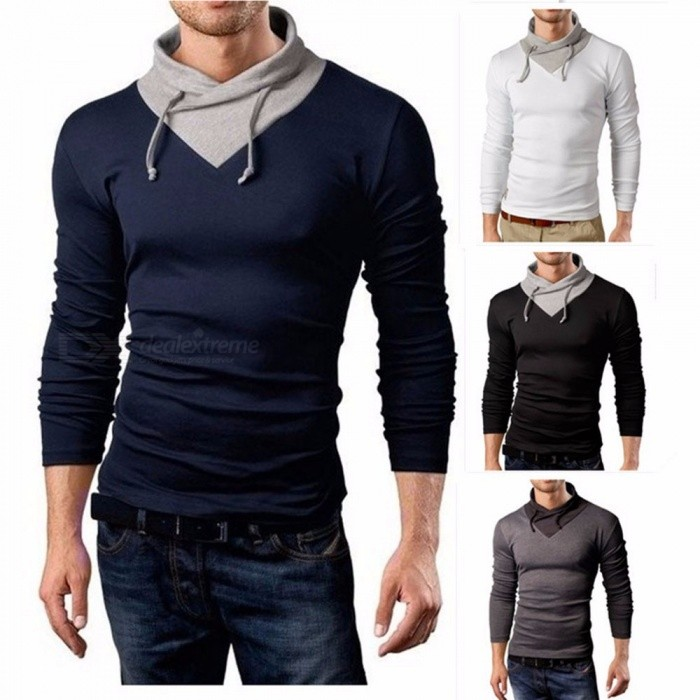 Men's Hooded T-Shirt, Autumn Casual Sling Tee, Male Fake Two Pieces Slim Long-Sleeved T-Shirt Top Black/M