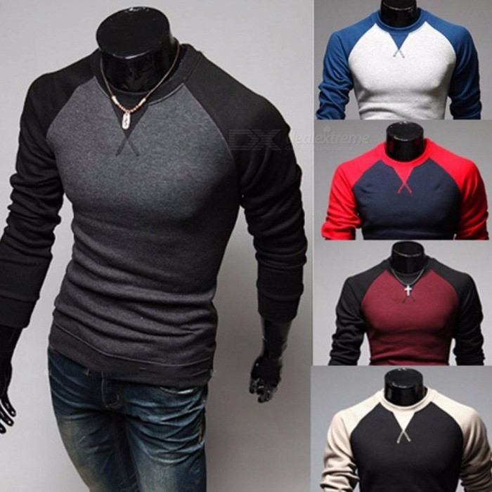 Patchwork Color Round Neck Long Sleeve Pullover Men's T-Shirt, Casual Color Stitching Male Tee Top Black/M