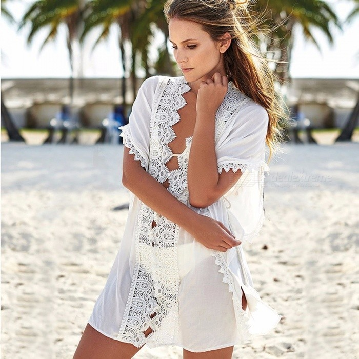 Sexy Floral Bikini Blouse, Wide-Brimmed Lace Embroidery Long Cover-Up For Swimsuit Swimwear White/L