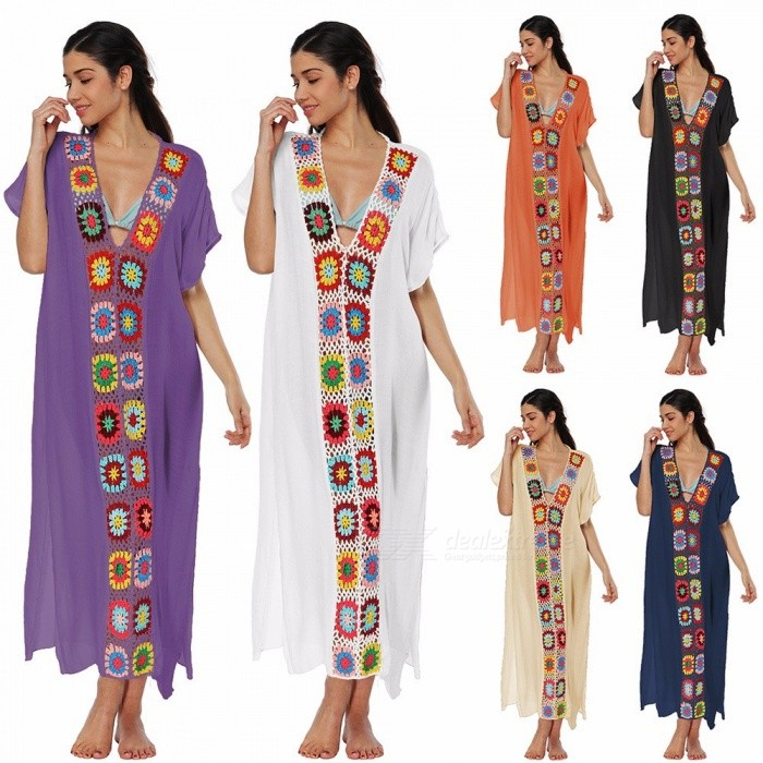 Cotton Cloth Patchwork Side Split Design Long Dress Bikini Blouse Cover-Up For Swimsuit Swimwear Orange/One Size