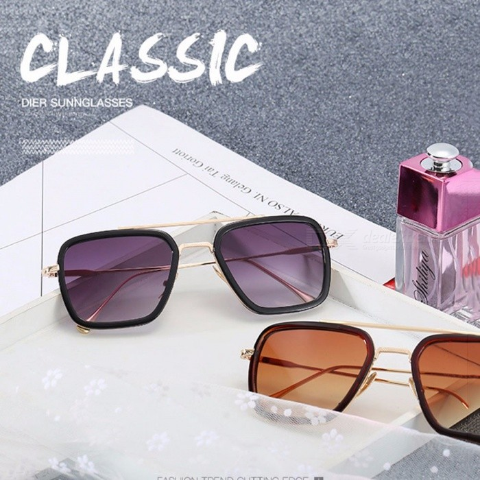 Fashion Vintage Retro Square Metal Frame Sunglasses, UV400 Protection Sun Glasses Eyewear For Women Men Black