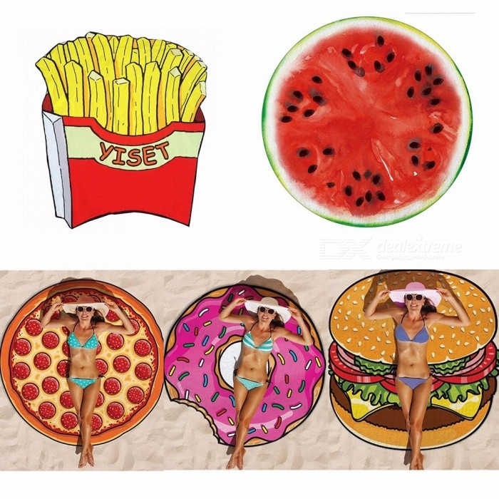 Fruits Beach Towel, Colorful Watermelon Pizza Hamburger Cooling Beach Mattress, French Fries Doughnut Swimsuit Cover-Up Gold/One Size