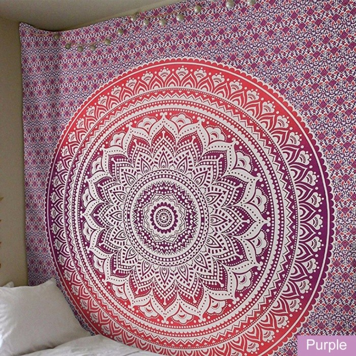 Mandala Decorative Curtains Colorful Geometric Symmetry Graphic Tapestry Attractive Beach Towels Yoga Room Decoration Khaki/One Size