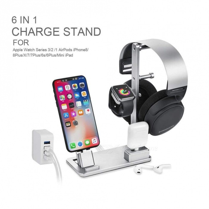 Measy 6-in-1 Apple Watch Charging Dock Station, Aluminum Headphone Stand Holder for IPHONE X, 8 - Silver