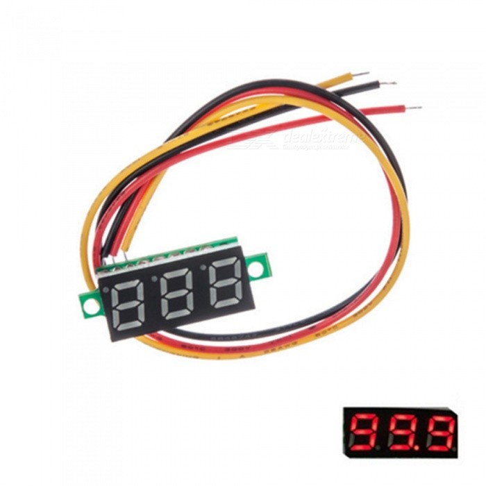 "ZHAOYAO DC 0-30.0V 0.36"" LED Digital Voltmeter Motorcycle Voltmeter with Three-wire - Red"