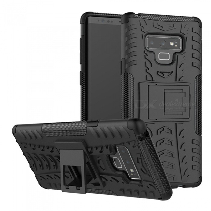 3D Relief Emboss Phone Cover Back Case with Holder for Samsung Note 9 - Black
