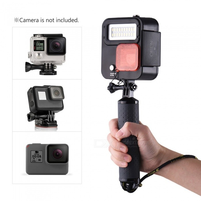 Action Camera Handheld Float Grip with Protective Case + Diving Light + Filter Cover for GoPro Hero 6/5/4