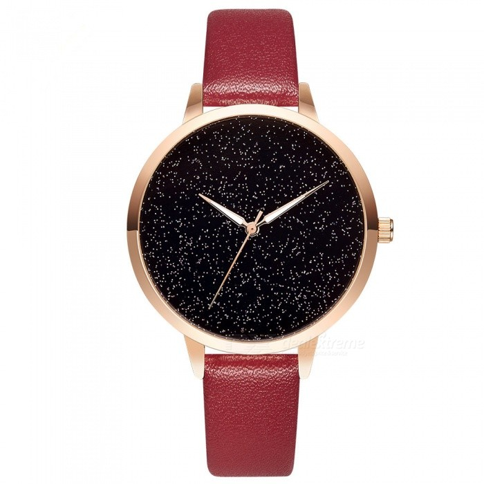 Hannah Martin 101 Fashion Women's Quartz Watch with Simple Design Starry Sky Pattern Dial, PU Leather Strap - Red