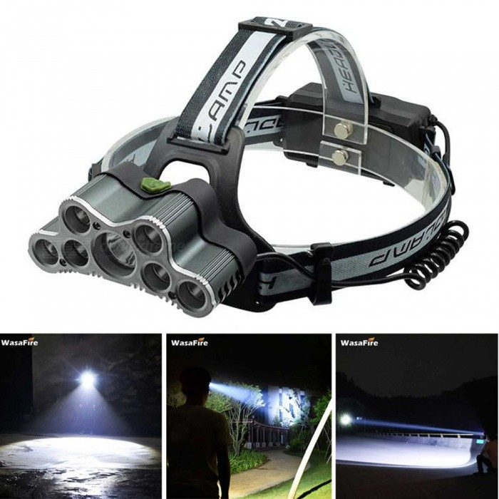 ZHAOYAO 9 LED Head Torch 20000 Lumens LED Headlamp USB Rechargeable XML T6 Lamp Warning Light