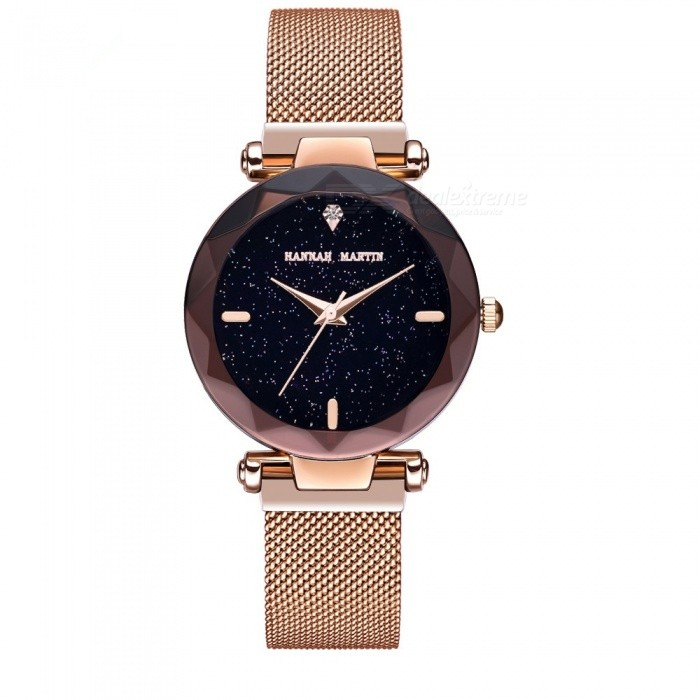 Hannah Martin D3 Fashion Women's Quartz Watch with Stainless Steel Woven Mesh Strap - Rose Gold