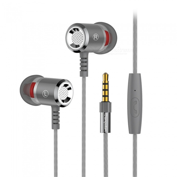 OJADE Metal Super Bass In-ear Earphones with Mic Stereo Hifi Earbuds for Cell Phone - Grey