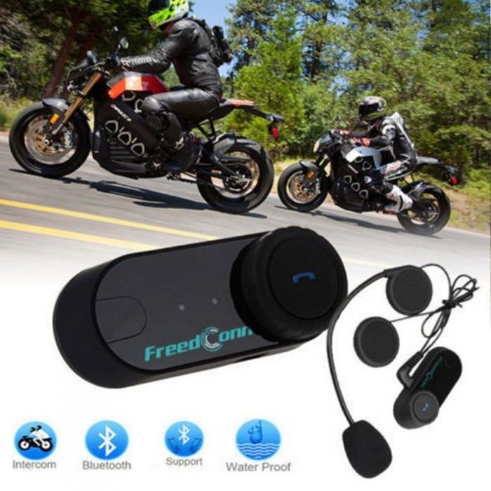 T-COM VB Motocycle Helmet Headset, 800M Range Bluetooth Interphone Motorcycle Intercom - EU Plug