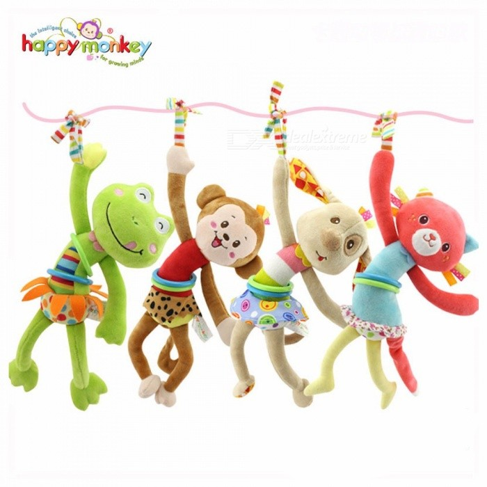 Fashion Infant Crib Hanging Plush Toy Cartoon Animal Dog/Frog/Monkey/Cat Pull Shock Bell Toys Gifts For 0-3 Years Baby Red
