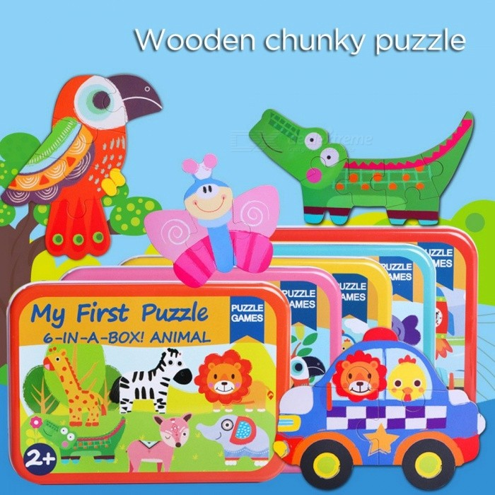 6-in-1 Wooden Puzzle Toy, Educational Developmental Baby Kids Training Toy, Children Animal Insect Vehicle Puzzle Jigsaw Red