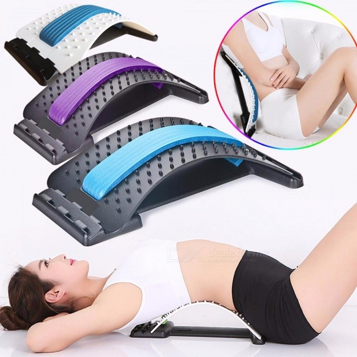 Spine Posture Corrector Brace Back Pain Relief Acupressure Stretcher Massage Lumbar Disc Herniation Traction Device Violet
