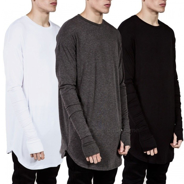 Men Long Gloves Sleeve Cotton T Shirt Loose Hip Hop Streetwear Trendy Pullover Shirts Black/S
