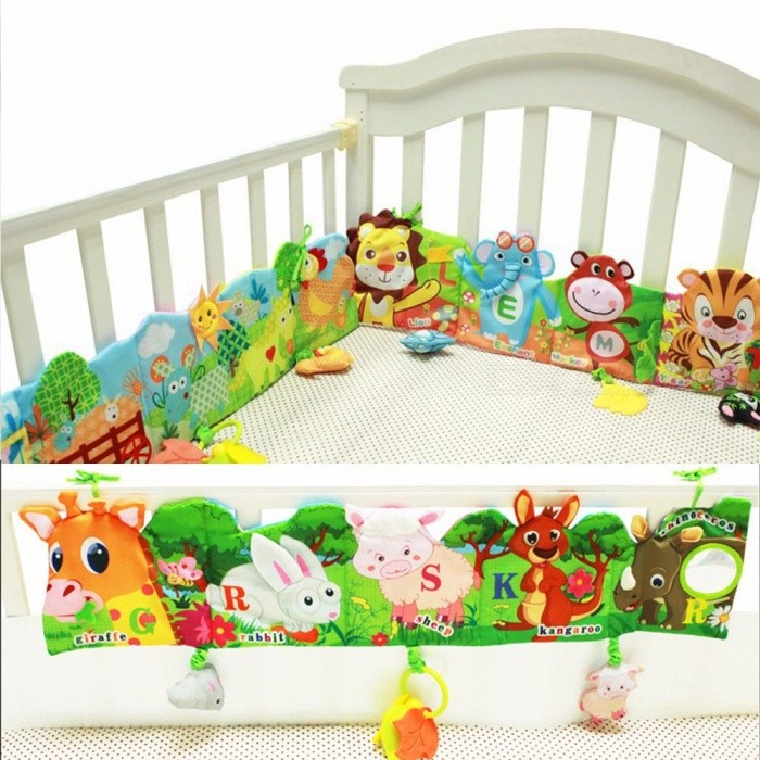 Double-sided Colorful Baby Bumper Cloth Book Knowledge Bed Around Crib Protector Multifunction Books Bed Yellow