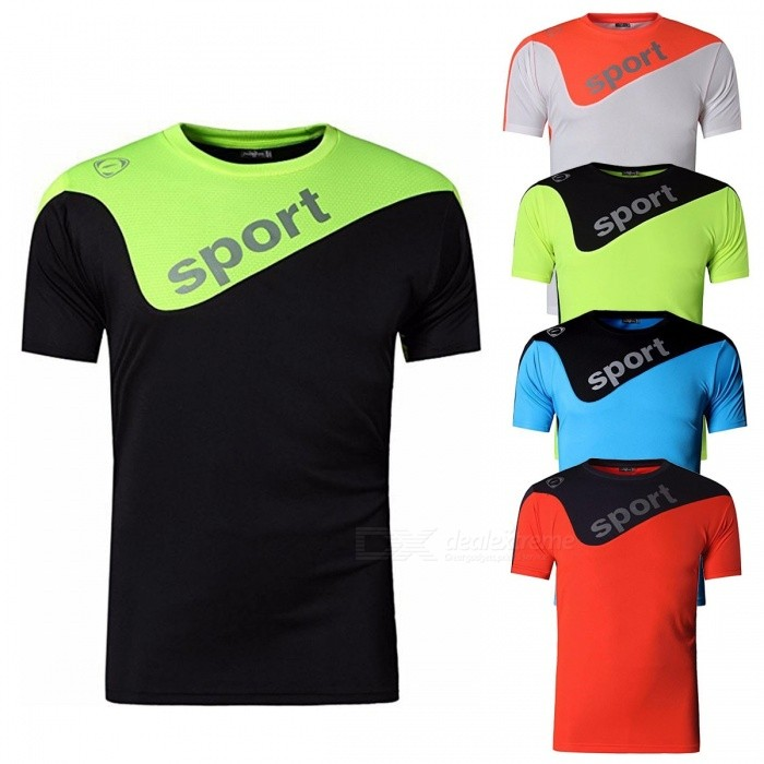 LSL188 Casual Patchwork Color Quick Dry Short-Sleeve Round Neck Men's T-Shirt Tee Top For Cycling Running Sports Black/M