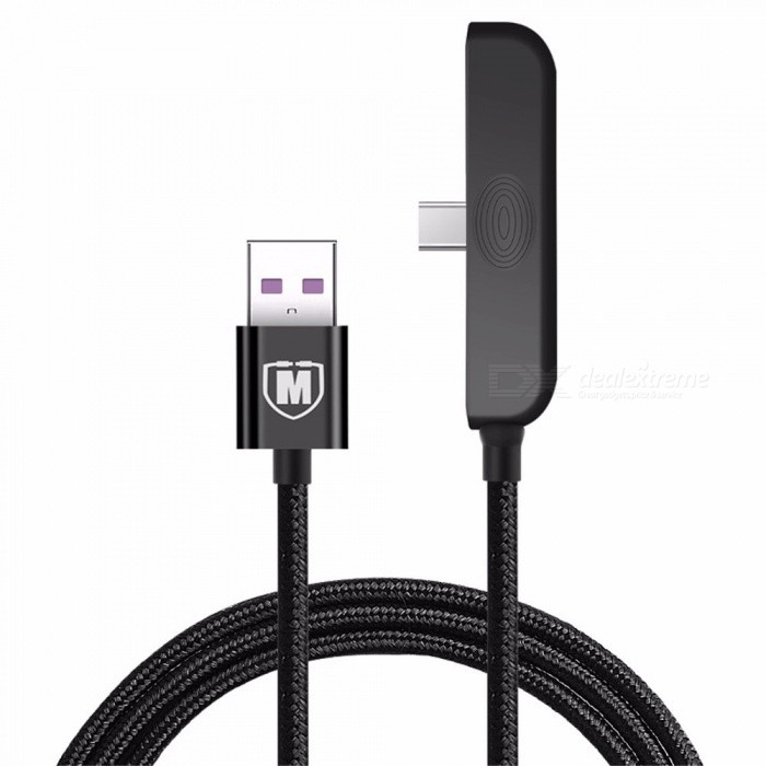 Durable Elbow Type-C / Lightning Fast Charging Data Cable Cord Wire For Mobile Phones Black/apple  1.5M