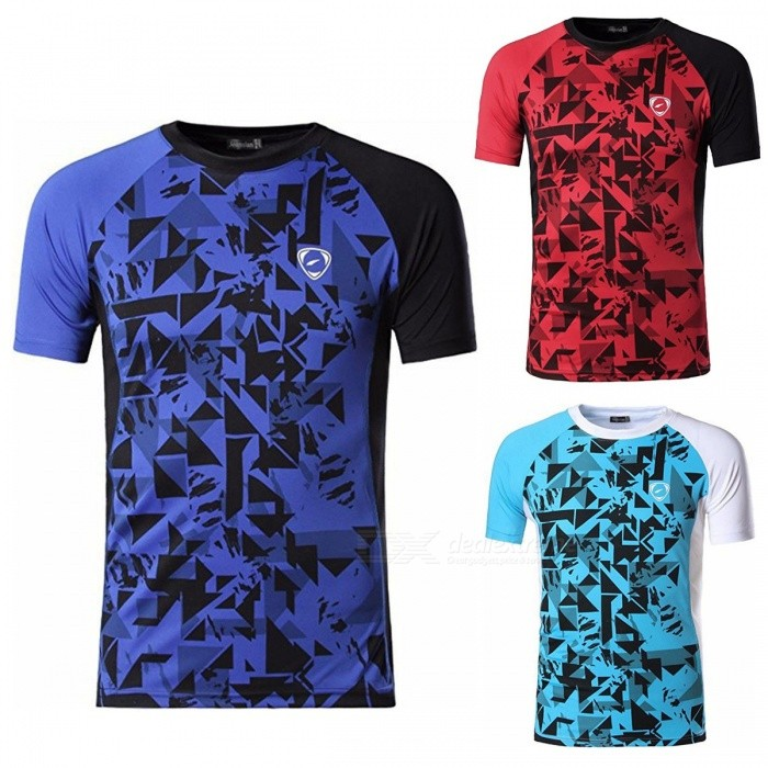 LSL193 Casual Print Quick Dry Short-Sleeve Round Neck Men's T-Shirt For Cycling Running Sports Blue/M