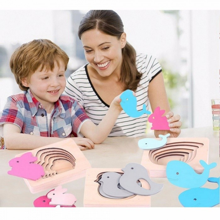 Baby Toy Kids Montessori 3D Puzzle Animal Children Wood For Early Childhood Education Preschool Training Learning Toys Pink
