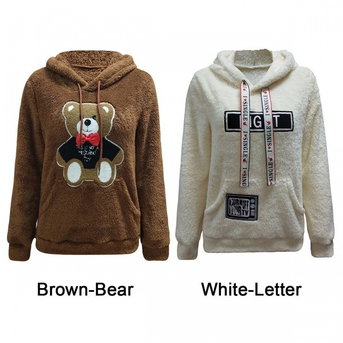 Autumn Winter Bear And Letter Pattern Long-Sleeved Double-Sided Fleece Casual Hooded Sweater Hoodies For Woman Girl Brown/S