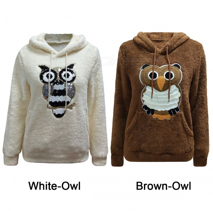 Autumn Winter Fashion Owl Pattern Long-Sleeved Double-Sided Fleece Casual Hooded Sweater Hoodies For Woman Girl Brown/S
