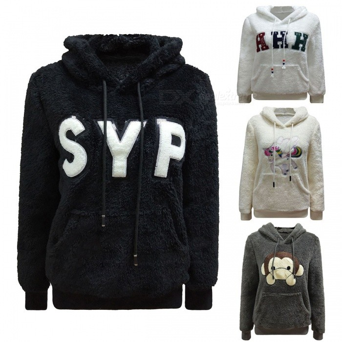 Autumn Winter Fashion Stereo Pattern Long-Sleeved Double-Sided Fleece Casual Hooded Sweater Hoodies For Woman Girl Beige/S