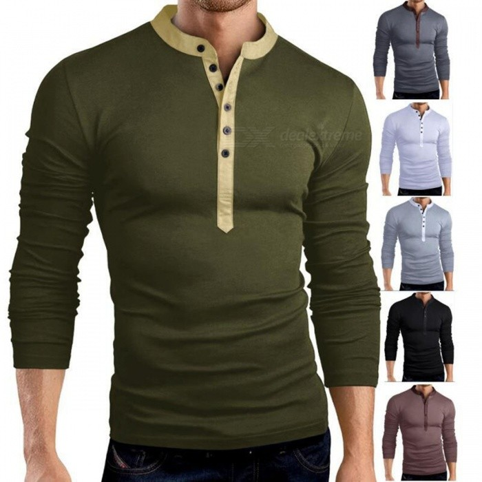 Fashion Solid Color Multi-Button Big V Neck Slim Men's Long Sleeve T-Shirt, Casual Male T Shirt Tee Top Black/M