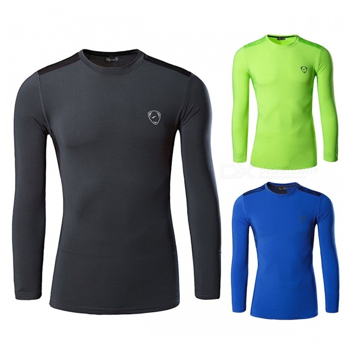 Outdoor Sports Polyester Quick Drying Long Sleeve Mens T Shirt Running Fitness Cycling Moisture-Wicking Slim Fit T-Shirt Blue/M
