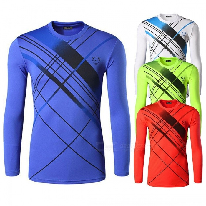 Outdoor Sports Stripe Polyester Quick Drying Long Sleeve Mens T Shirt Fitness Cycling Moisture-Wicking Slim Fit T-Shirt Blue/M