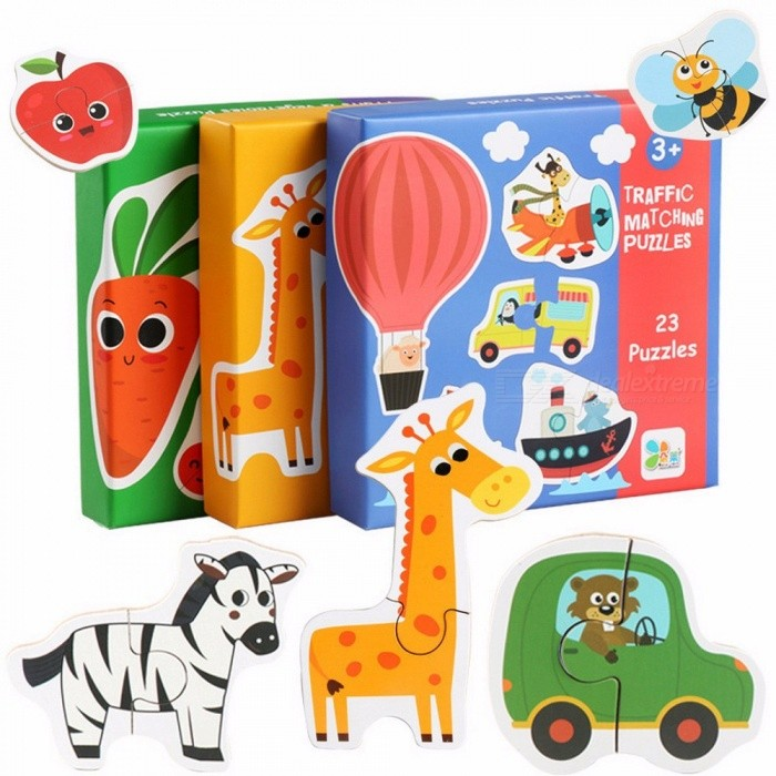 Children Large Matching Puzzles Early Learning Card My First Jigsaw Puzzle Toys For Children Kids Educational Toys Green