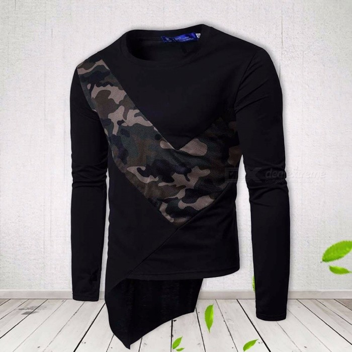 Men\'s Casual Long Sleeve T Shirt Irregular Corner Design Patchwork Color Tops Brand O-Neck T Shirts For Men Black/M
