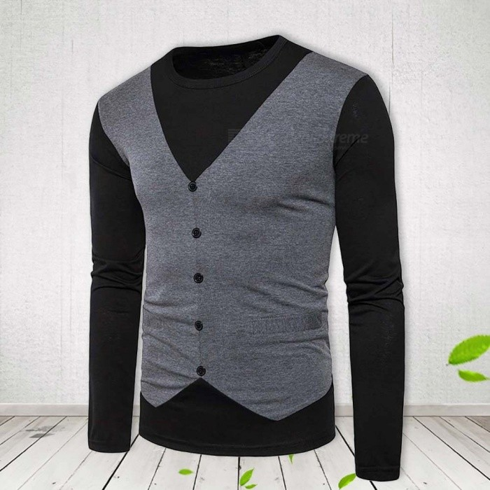 New Style T Shirt Men Fashion Fake Two Patchwork Men's Casual Wear Round Neck Long Sleeve T Shirts Black/S