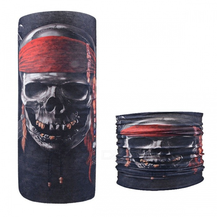 Skull With Headband Print Seamless Magic Variety Sports Scarf Outdoor Riding Headscarf Headband Sunscreen Face Mask Red