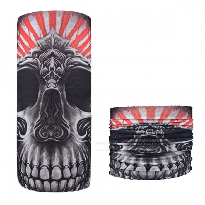 Horror Skull Print Seamless Magic Variety Sports Scarf Outdoor Riding Headscarf Headband Sunscreen Face Mask Hat Black