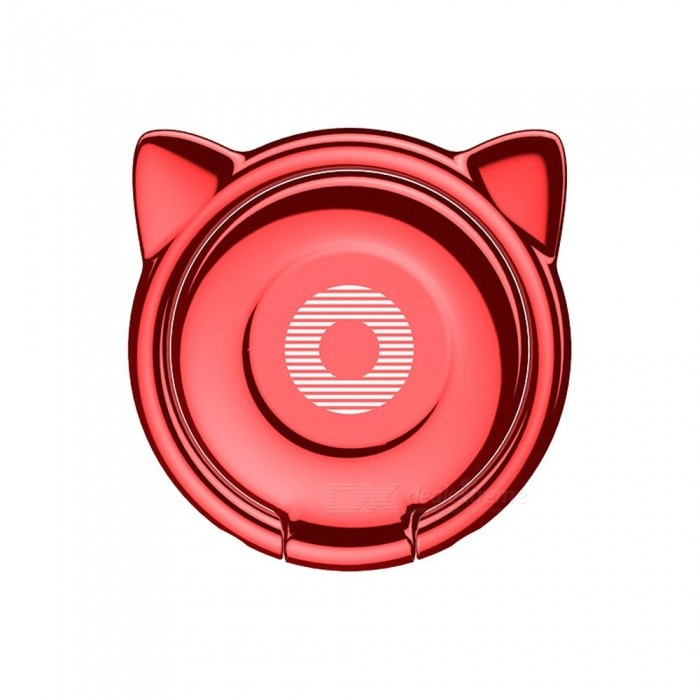 BASEUS Cartoon Cute Cat Ear Style Ring Stand For Mobile Phone Super Slim Zinc Alloy Magnetic Rotary Finger Ring Holder Red