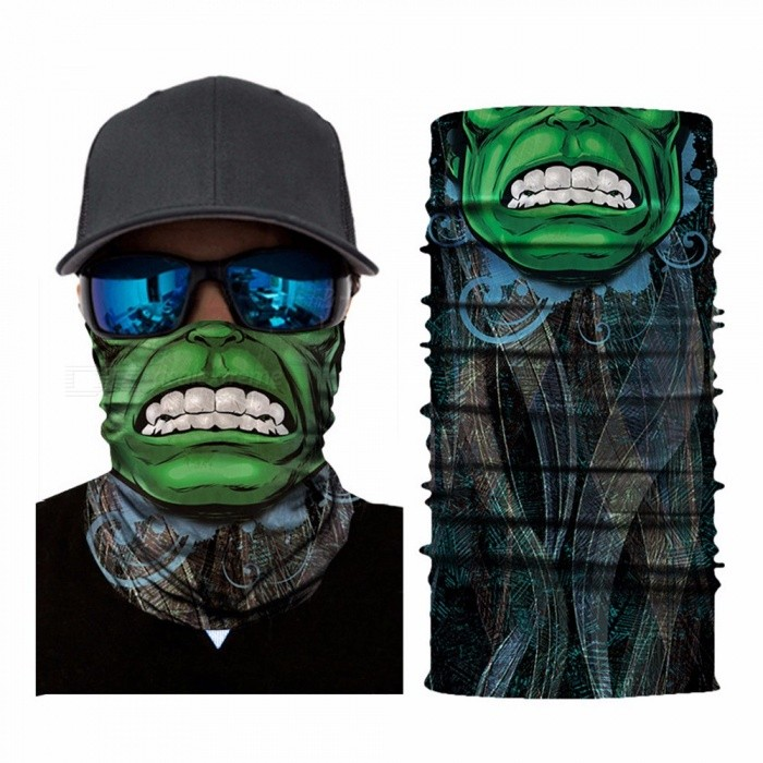 Half Green Face Print Seamless Magic Variety Sports Scarf Outdoor Riding Headscarf Headband Sunscreen Face Mask Hat Green