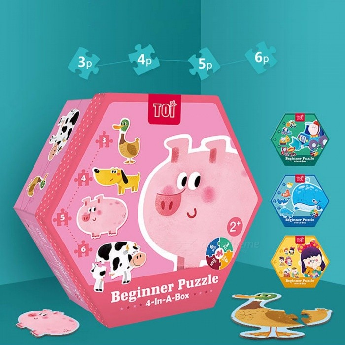 Cute Cartoon Paper Puzzle Jigsaw Board, Early Childhood Educational Toy For Children Kids Green