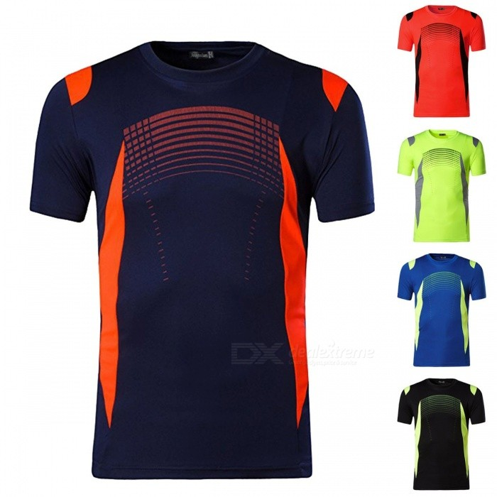 Men's Sports Short Sleeve T Shirt Fitness Clothes Sweat Speed Dry Running Training Compression Shirts LSL194 Black/M