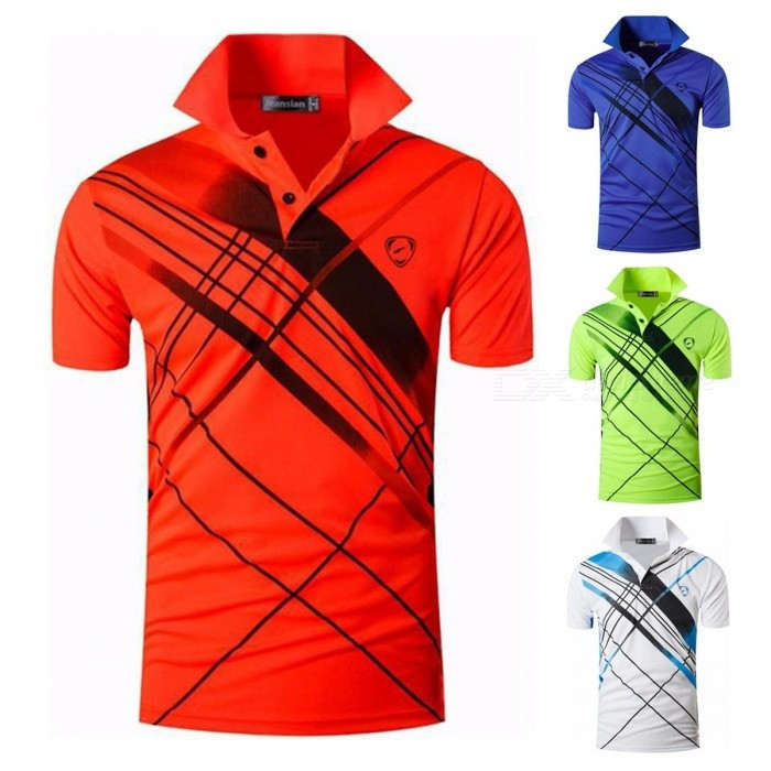 Men\'s Sportswear Breathable Quick-drying Short Sleeve T Shirt Summer High Elastic Polo Shirts Blue/M