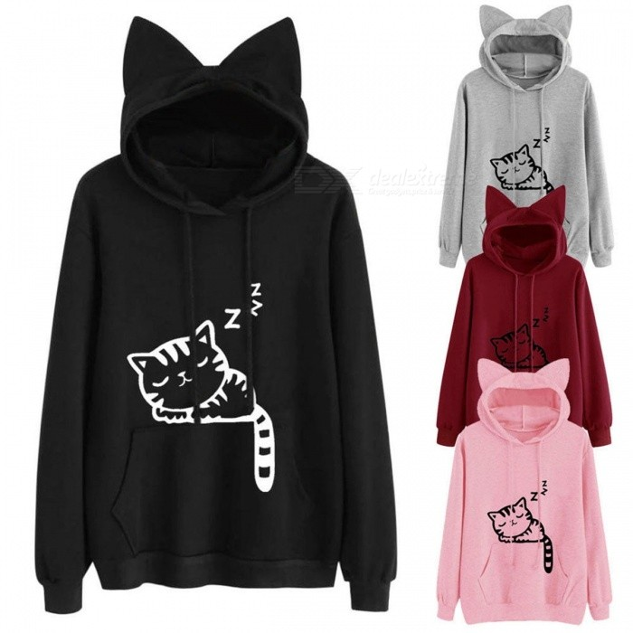 Womens Cat Ear Solid Long Sleeve Hoodie Sweatshirt Hooded Pullover Tops Blouse Solid Color Cat Print Ear Hooded Sweater Black/S