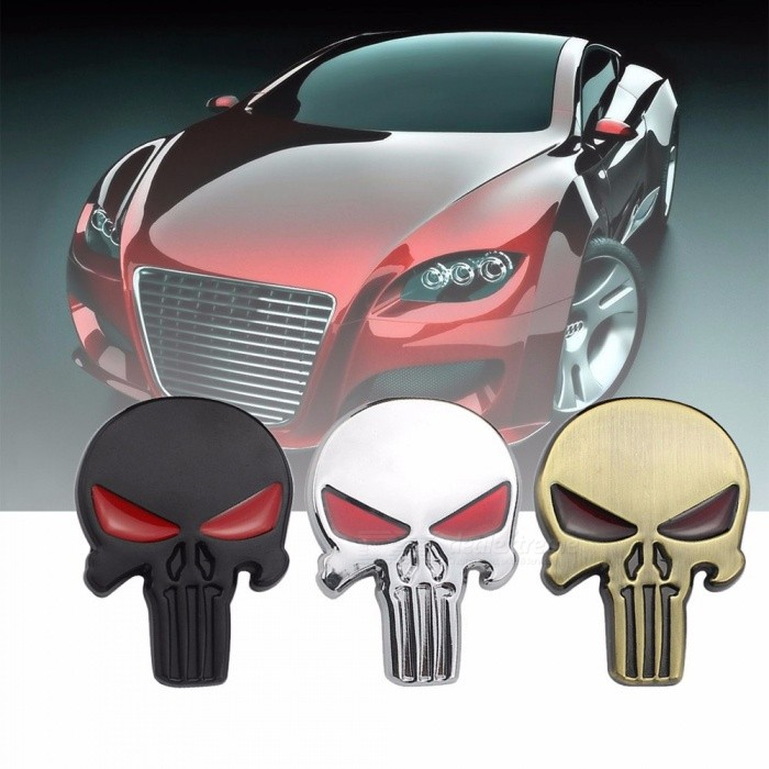 Creative 3D Skull Head Car Metal Sticker, Aluminum Auto Car Body Trunk Personality Decorative Sticker Black