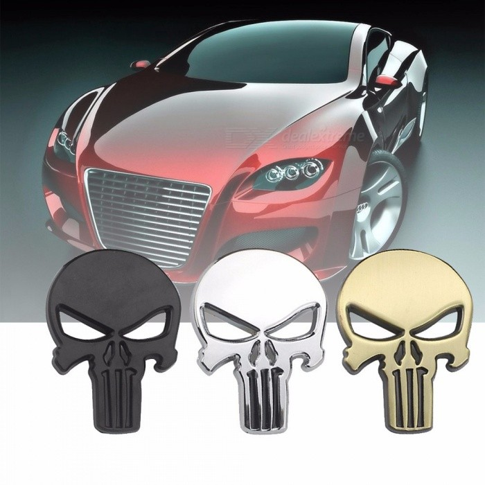 Creative 3D Skull Head Car Metal Sticker, Aluminum Auto Car Body Trunk Personality Decorative Sticker - Hollow-Out Eye Black