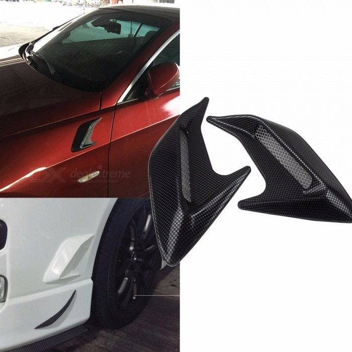 2Pcs Universal Auto Car Styling Simulation Door Hood Side Vent Outlet Stickers, Shark Gills Decoration Cover Black