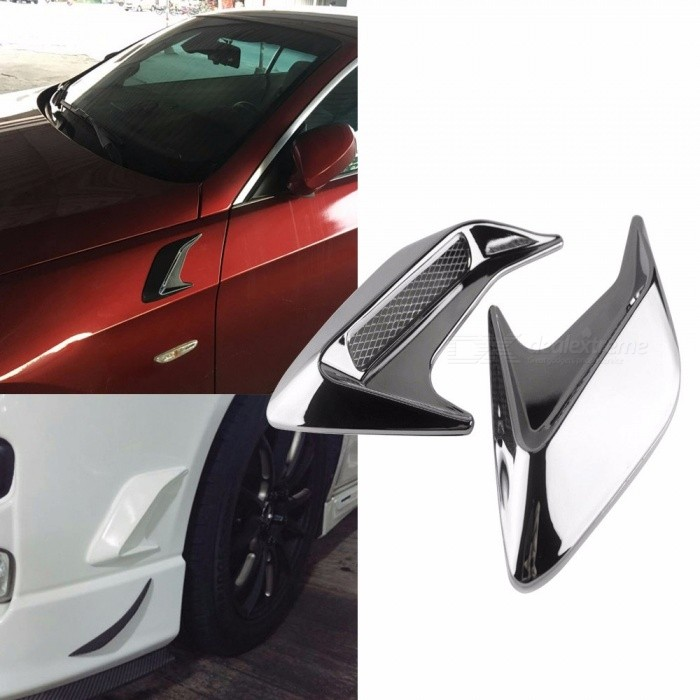 2Pcs Universal Auto Car Styling Simulation Door Hood Side Vent Outlet Stickers, Shark Gills Decoration Cover Silver