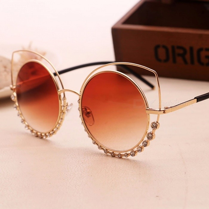 Personality Metal Sunglasses, Diamond Double Ring Cat Eye Sunglasses Goggles For Women Ladies Pink